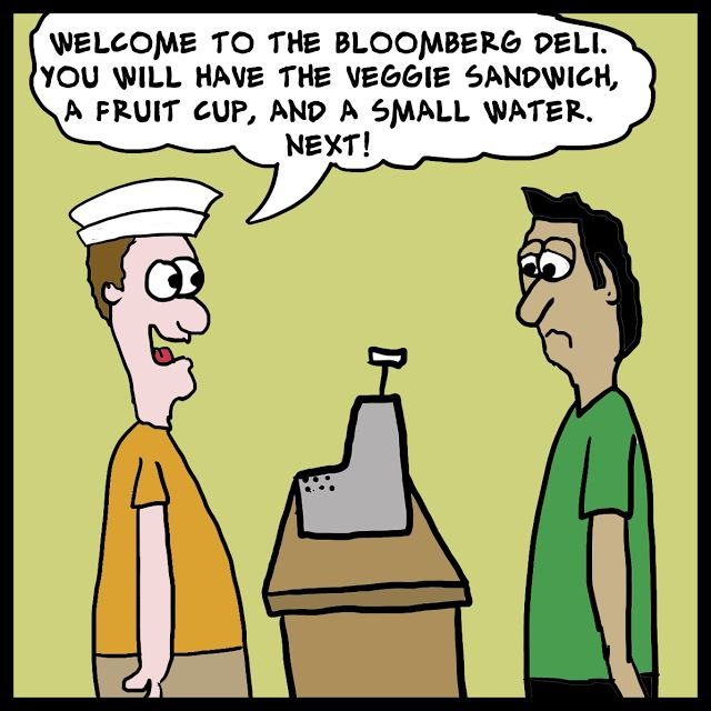 "A nice cartoon for the ""Food Nazi"" himself, Bloomberg. Rogue Symmetry by Derrick G. Wood"