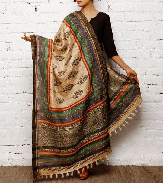 Beige, black and blue tussar silk dupatta