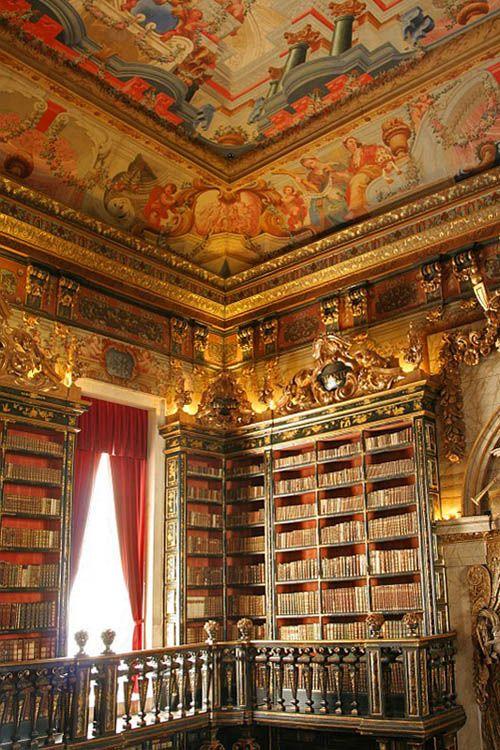 Biblioteca Joanina. Coimbra (Portugal).Libraries Bookshop, Biblioteca Joanina, Reading Book, Beautiful, Portugal Places, Coimbra Portugal, Architecture, Vienna Austria, Bookshelves Libraries Nooks