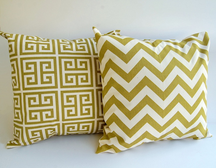 "This set is perfect! Need to measure your other pillows first before buying. Would like them to be larger than the other pillows. Thinking you only use one of the tree pillows, both of these and the two grey ones (one goes on the chair)...Throw pillow covers set 20"" x 20"" chevron greek key Towers village olive green and natural cushion covers. $36.00, via Etsy."