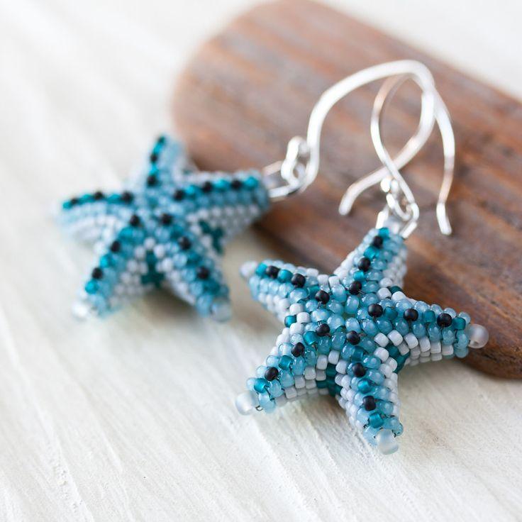 Blue starfish earrings, unique 3d beadwork sea star earrings, beach jewelry