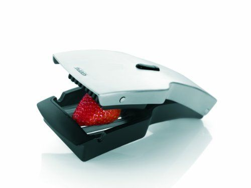 GEFU 13420 Tari Slicer by GEFU DDP. $44.95. Locking mechanism. Stainless steel/plastic. Special, sturdy, off-set japanese stainless steel. Easy to clean. Slicer for fruits, tomatoes, and mozzarella. This slicer will make your work in the kitchen easier. With the slicer you can cut exact 5mm slices of strawberries, kiwi, mushrooms, mozzarella, other soft fruits and even tomatoes without crushing, thanks to the strong, super sharp, off-set, serrated, Japanese steel ...