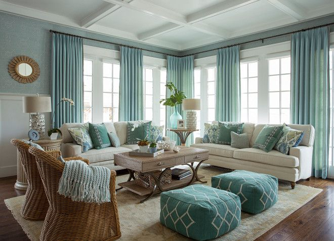 Turquoise coastal living room design living room - Turquoise curtains for living room ...
