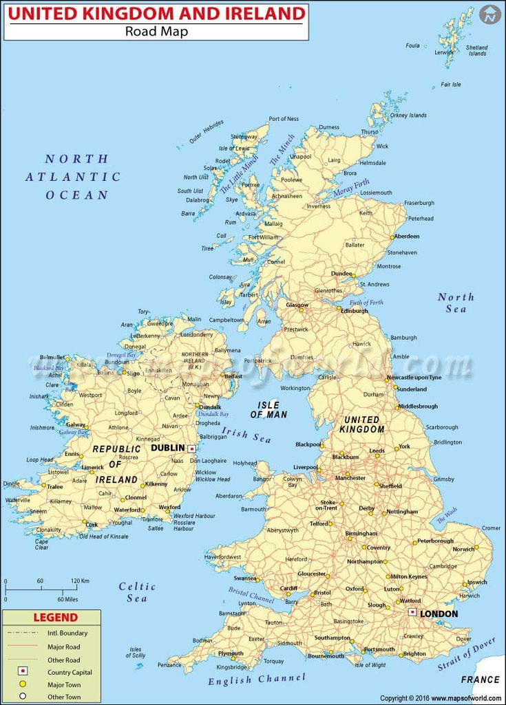 UK and Ireland Road Map Map of great britain, Ireland