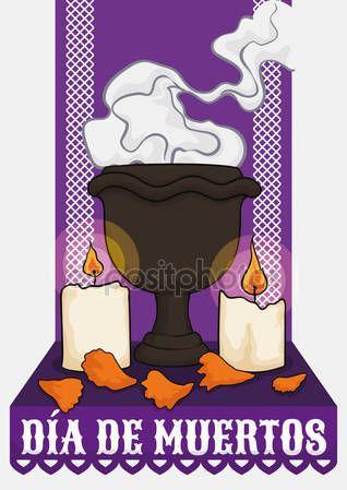 "Altar for ""Dia de Muertos"" with Incense, Candles and Petals"