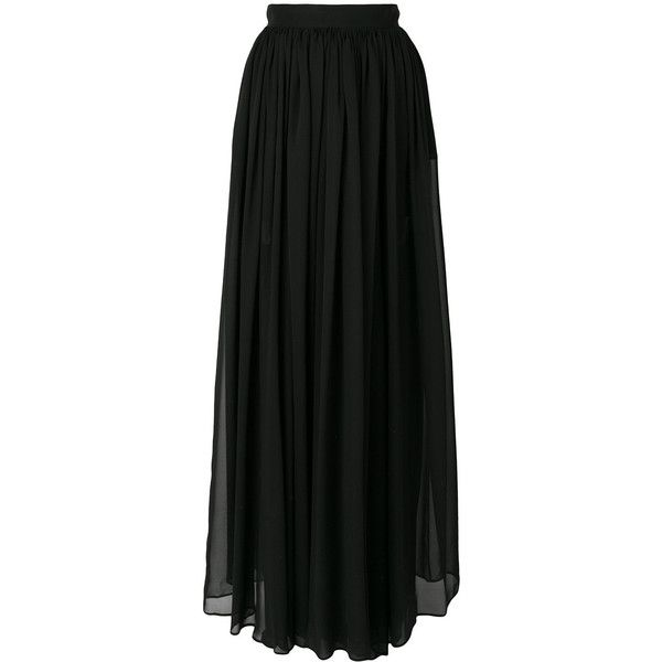 Elie Saab long pleated skirt (€1.290) ❤ liked on Polyvore featuring skirts, black, long pleated maxi skirt, silk pleated skirt, long pleated skirt, long silk skirt and silk maxi skirts