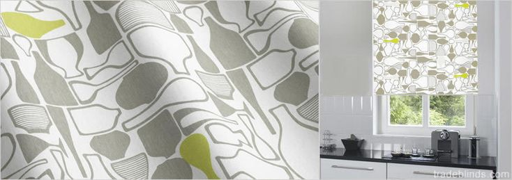 Retro Kitchen Lime Contemporary Patterned Roller Blinds Wide