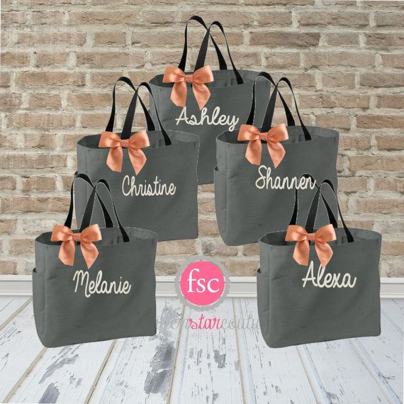 5 Bridal Party Tote Bags Bridesmaid Gifts Bag Bachelorette Gift Destination Wedding