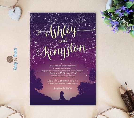 Purple Wedding Invitations  Starry night wedding by OnlybyInvite