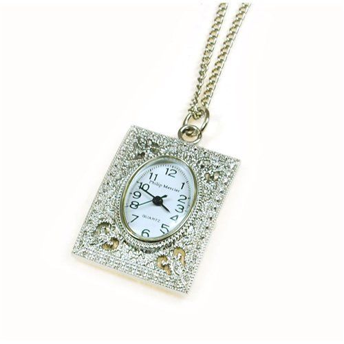 Philip Mercier Ladies Silver Tone Pendant Necklace Watch on 28 Inch Chain NFP15A