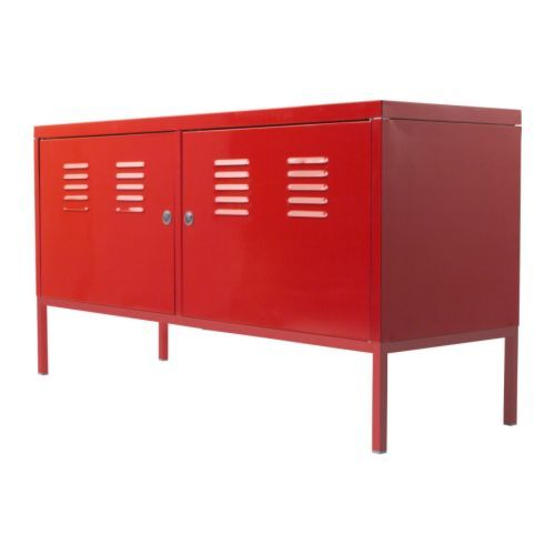 IKEA - IKEA PS, Cabinet, red, , A cord outlet underneath makes it easy to gather all cords in one place.The door is lockable so your possessions stay safe.Tall legs make cleaning easy.