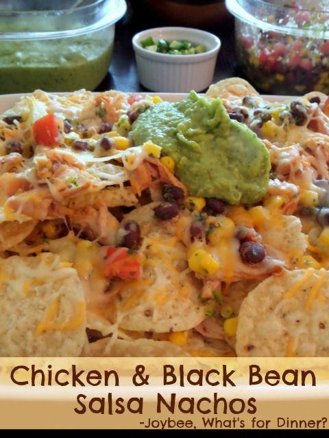 Chicken and Black Bean Salsa Nachos:  Crunchy tortilla chips layered with leftover rotisserie chicken, black bean and corn salsa, and shredded cheese.