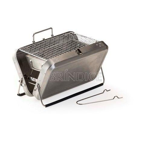 Churrasqueira portátil personalizada - Mini Churrasqueira - funciona com carvão. Pode ser transportada como uma maleta.