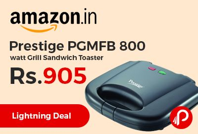 Amazon #LightningDeal is offering 35% off on Prestige PGMFB 800 watt Grill Sandwich Toaster at Rs.905 Only. Fixed grill plates, Non-stick heating plate, Elegant black finish body, Heat-resistant Body, Durable Body.  http://www.paisebachaoindia.com/prestige-pgmfb-800-watt-grill-sandwich-toaster-at-rs-905-only-amazon/