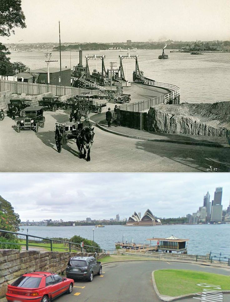 Jeffrey St Dock, North Sydney 1925 [State Records NSW > 2014 Google street view. By Kevin Sundgren]
