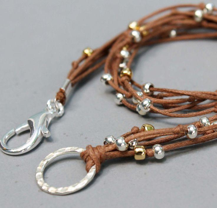 BOHO Beach Wrap Bracelet - Green - DOUBLE Wrap Beaded Cotton Cord - Pick your SIZE - Silver and Gold Accents  - Boho Wrap Bracelet