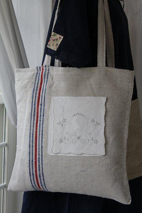 French Antique 「フレンチアンティーク グレインサックのショッピングバッグ」ココン・フワット Coconfouato [アンティーク照明&アンティーク家具] アンティーククロス アンティークファブリック アンティークテキスタイル  ファブリック レース --cloth--