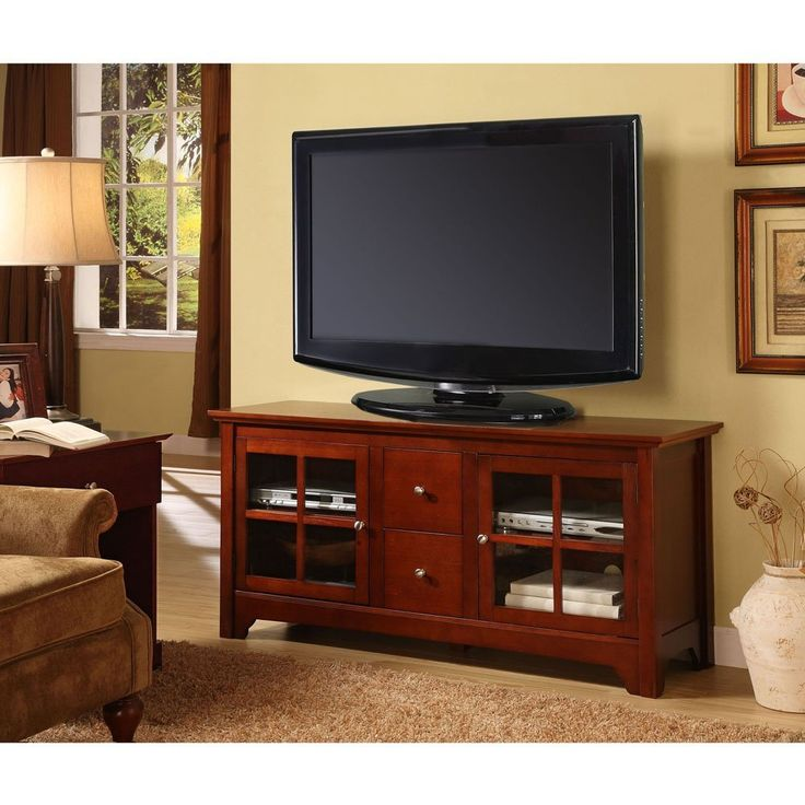 Drawers For The DVDs In This Walker Edison 52 Inch Wood TV Stand Console  With