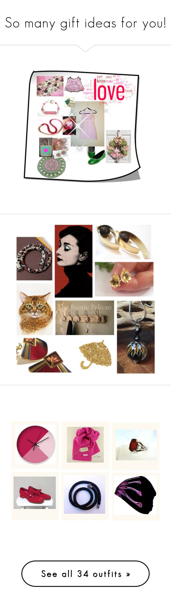 """""""So many gift ideas for you!"""" by colchico ❤ liked on Polyvore featuring vintage, jewelry, homedecor, handmade, Nintendo, Charles Jourdan, Cadeau, Rustico, Edie Parker and In Your Dreams"""