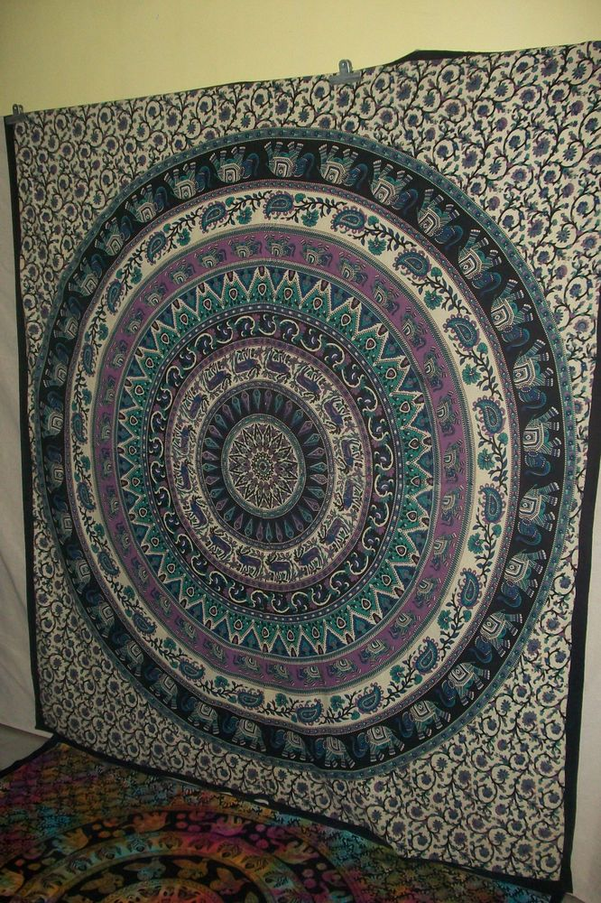 Twin Indian Cotton Mandala Bedspread Wall Hanging Hippie Throw Bohemian Tapstry #Unbranded
