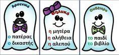 Δωρεάν 24 καρτέλες με τα γράμματα του ελληνικού αλφαβήτου για την πινακίδα.