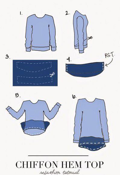 Две идеи переделки свитера или футболки / Футболки DIY / ВТОРАЯ УЛИЦА