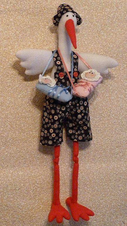 Купить Аист - птица счастья - куклы и игрушки, интерьерная игрушка, украшение интерьера, текстильная игрушка