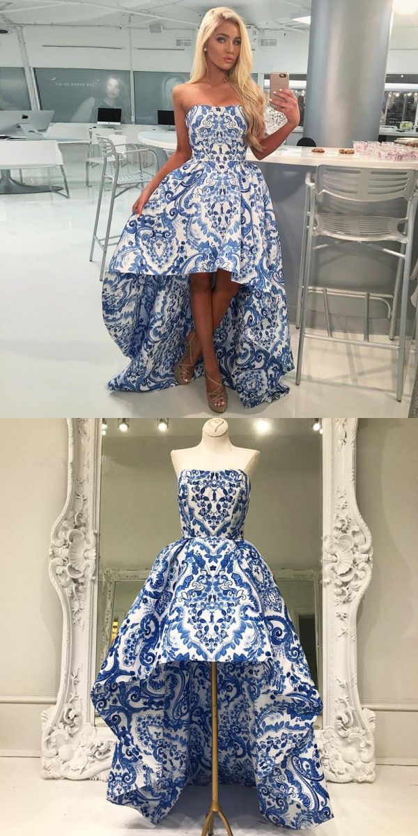 blue homecoming dresses, high low homecoming dresses, floral homecoming dresses @dresstell