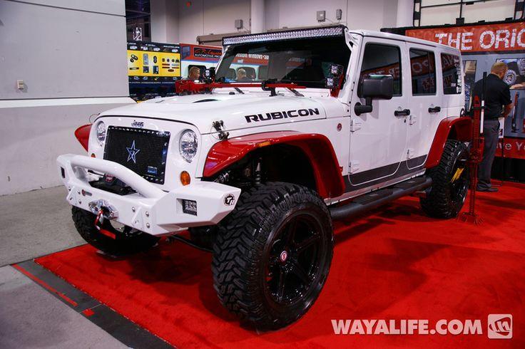 2013 sema hi lift white jeep jk wrangler 4 door jeep mods pinterest. Black Bedroom Furniture Sets. Home Design Ideas