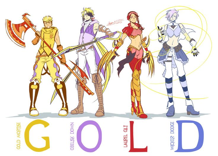 Team GOLD reporting for duty! In which I actually finished drawing Gold's whole team! (Aka the people who have to put up with Gold's dorky shenanigans xD)&...