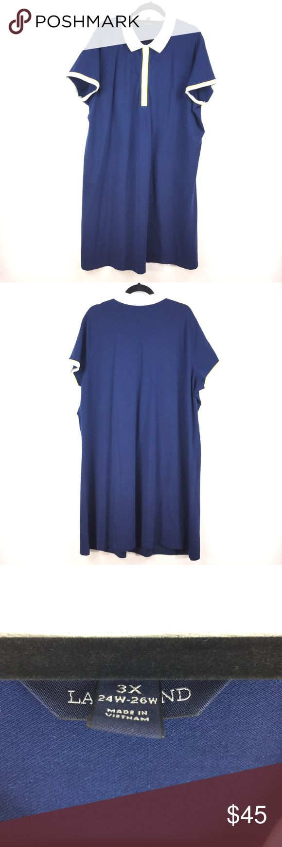 "Lands' End Polo Shift Dress Sz 3X Navy & white 914 Lands' End Polo Shift Dress Women's Plus Sz 3X Navy Blue White Short Sleeve 914  Measurements: Bust:  27"" Flat Across Waist:  27"" Flat Across Length:  43""  Long  In good preowned condition with no known flaws and light overall wear. Lands' End Dresses"