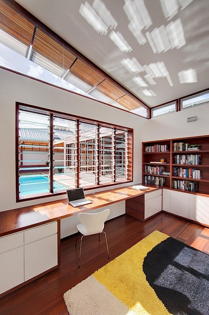 study room/office: love the light play on the ceiling