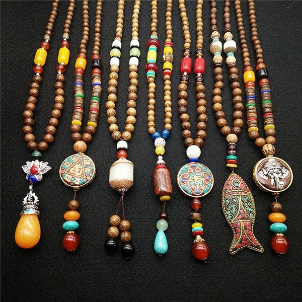 Trendy Bohemian Vintage Ethnic Wood Handmade beaded Statement Necklaces Pendants Jewelry For Women