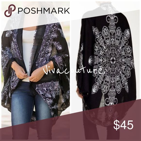 Chic Black Kimono Shawl Cardigan Chic versatile best selling style light weight one size fits most sizes XS through XL . 100% Acrylic soft and layers great over any outfit . Also available in mocha / black combo and white / blue combo . Nwot Accessories Scarves & Wraps