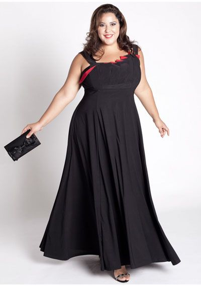 Plus Size Dresses-Bright Black Plus Size Evening Dress Gown