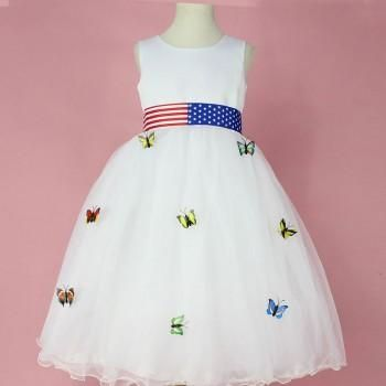 Butterfly-Detailed A-Line Sleeveless Dress for Baby & Girls