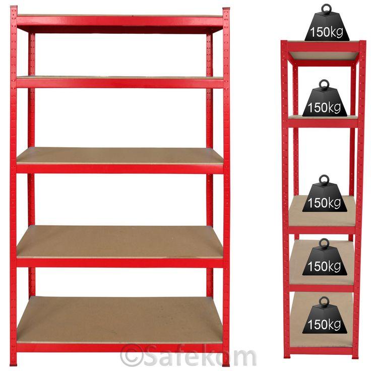 1 Bay 5 Tier Boltless Industrial Racking Garage Shelving Storage Shelve Rack Red