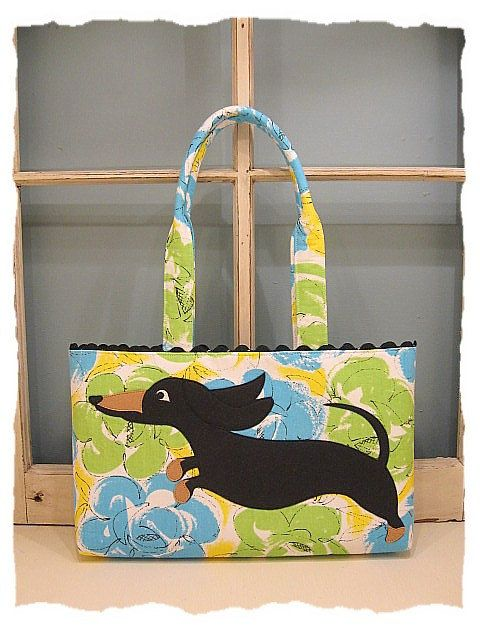 Wheener Dog Dachshund Tote with Black and Tan by katydidstitches, $55.00