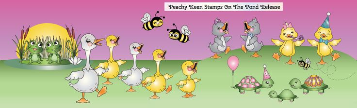 On the Pond - Digital Stamps: Peachy Keen Stamps | Home of the original clear, peach-tinted, high-quality whimsical face stamps.
