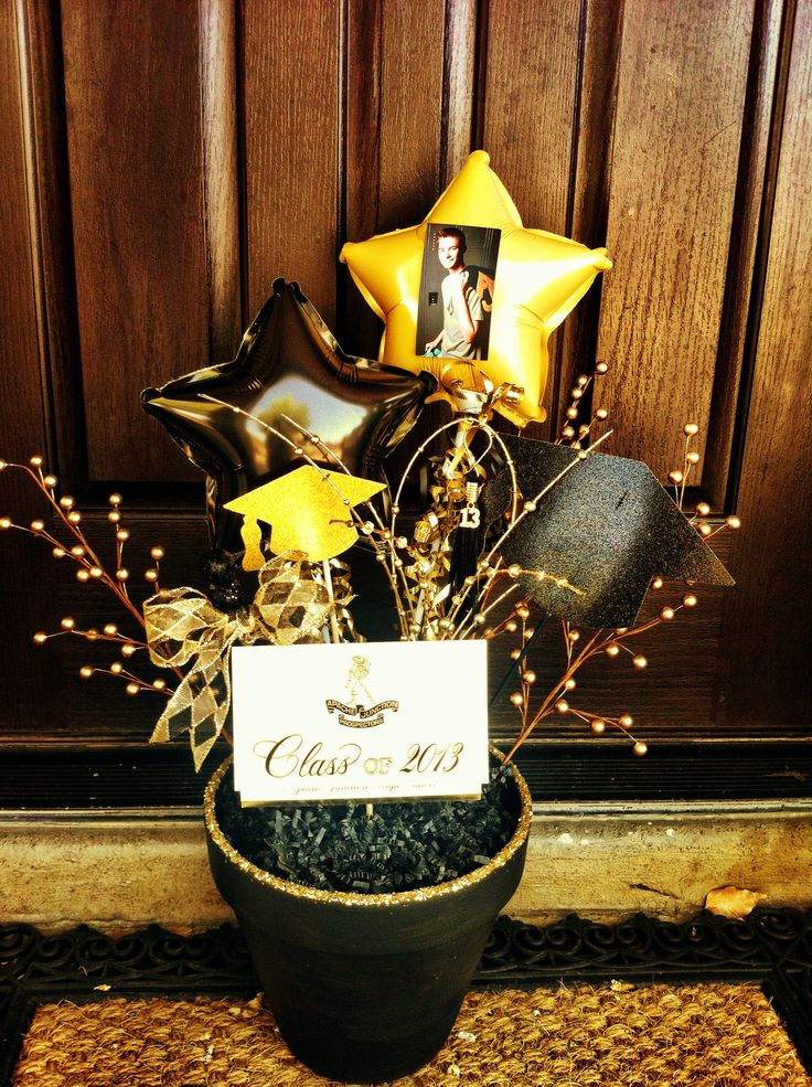 Black/gold painted flower pots with photos....