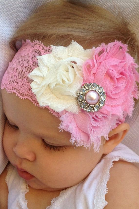 3 Lace Baby Headbands and 1 pair barefoot by SummerJadeBoutique