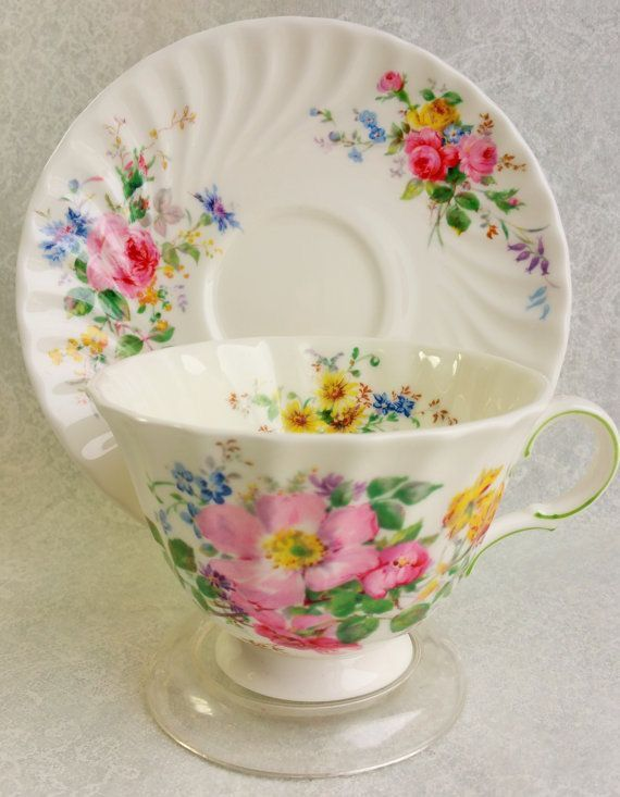 Royal Doulton Arcadia Pattern Floral Teacup and Saucer