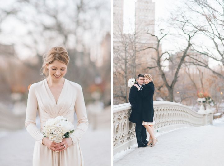 bride and groom portraits in central park after their new york city hall wedding captured