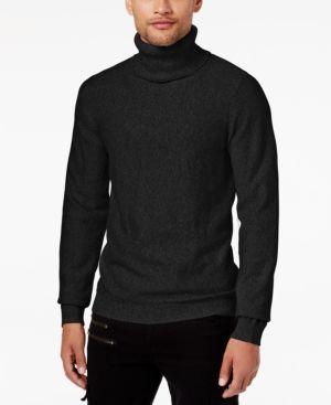 Guess Men's Reverse Jersey-Knit Turtleneck Sweater - Black XXL