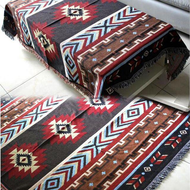 Çok İşlevli Kilim Kanepe Battaniye Geometrik Desen Battaniye Oturma Odası Yatak Odası Halı Yumuşak Halı Yatak Örtüsü Örtüsü Goblen