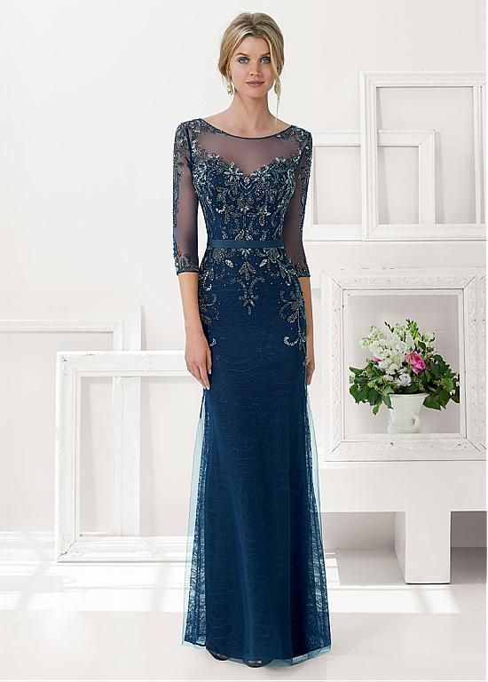 Chic Tulle & Lace & Satin Bateau Neckline Floor-length Sheath Mother Of The Bride Dress