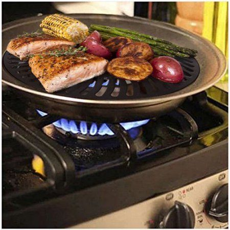 Premium Healthy Indoor Stove top Smokeless Stainless Steel BBQ Grill Kitchen Barbecue