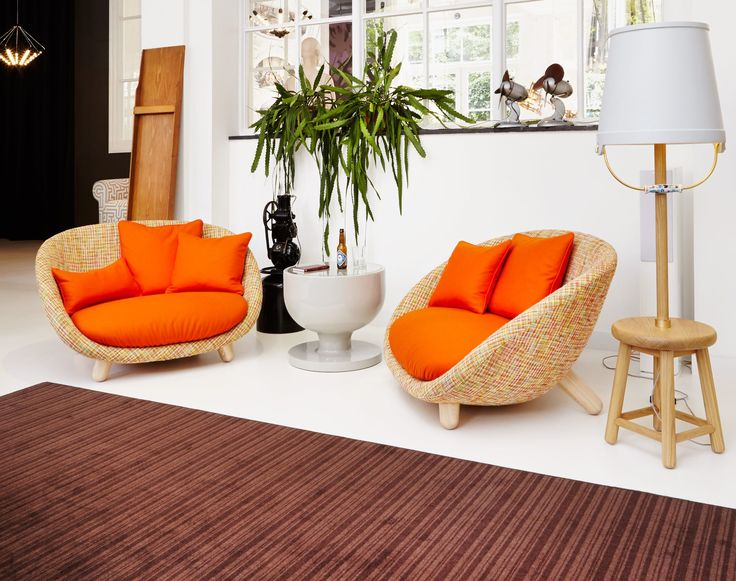 Small Sectional Sofa Love Straight sofa Multicoloured Orange cushion by Moooi Design furniture and decoration with Made in Design