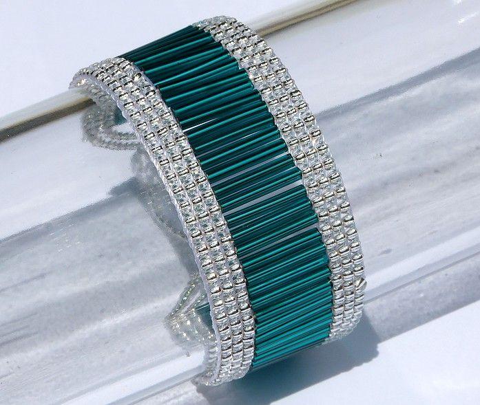 pulseira tear canutilhos miçangas, bugle bead looming bracelet, cs-crafts