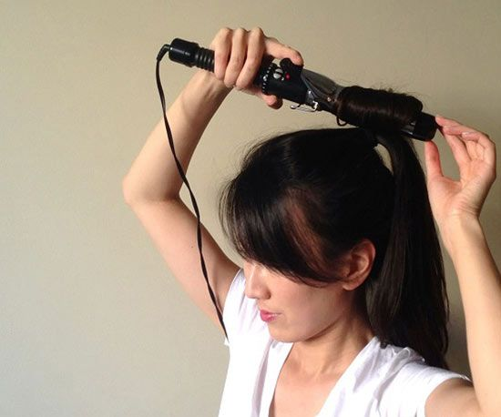 Tweak your technique to create a whole head of curls in minutes. Secure hair into a high ponytail. Split the pony into four sections and curl each with a 1-inch iron. Let the curls cool for a minute to set, then let out the ponytail. Shake your head to reveal fabulous bend and body.